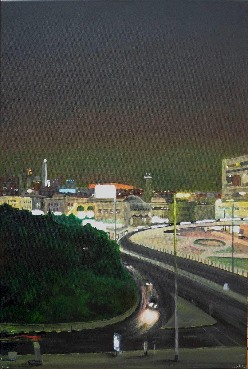 Stadtansicht bei Nacht, in Öl