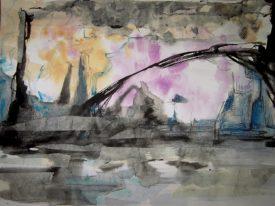 Aquarell - auf den ersten Blick abstrakt, vllt. auch eine Skyline mit Brücke