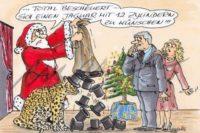 """Comic: Weihnachtsmann, verärgert, schüttelt einen Sack Hüte aus, vor ihm sitzt eine große Katze mit ebenso missmutiger Miene. """"Bescheuerte Idee, sich einen Jaguar mit zwölf Zylindern zu wünschen!"""" und ihm gegenüber ein staunendes Ehepaar."""