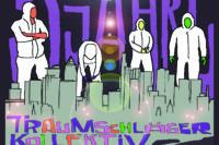 """Flyer: stilisierte Skyline von Frankfurt, darüber schwebt ein weißes Ufo. Über der Skyline überlgebensgroße Figuren in weißen Anzügen, ohne Gesichter, und hinter ihnen große Schrift """"5 Jahre"""". Unterhalb der Skyline """"Traumschläger Kollektiv"""" und die Daten der Party"""