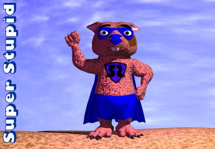 Scherzbildchen: Ein Comic-Hamster mit Superhelden-Cape. Reckt die Faust nach oben, daneben steht