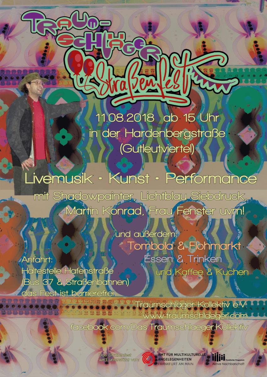 """Das Plakat zum Straßenfest: Ein bunter Hintergrund, ein Abbild von Yunus, der auf den Schriftzug """"Traumschläger Straßenfest"""" zeigt, darunter die Daten, wann, wo, was."""