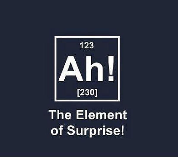 """Scherzbild: Angelehnt an die übliche Darstellung von chemischen Elementen im Periodensystem steht in einem Kasten: """"Ah!"""", und als Untertitel """"The Element of Surprise!"""