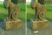 Scherz-Foto: Doppeltes Bild einer Katzenstatue. Die Katze sitzt, an ihrer linken Seite rollt sich der Schwanz nach oben, und ihr Blick ist auf ihre Pfoten bzw. einen imaginären Punkt links daneben gerichtet. Auf dem ersten Bild steht eine Getränkedose neben der linken Pfote der Katze. Auf dem zweiten Bild liegt die Dose am Boden...