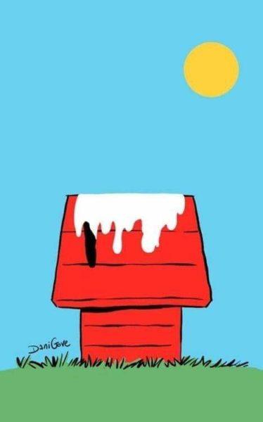 Klassischer Snoopy-Comic. Snoopys Hundehütte auf grüner Wiese vor blauem Himmel mit Sonne. Plot-Twist: Von Snoppy sind nur Farbschlieren zu sehen, größtenteils weiß und ein schwarzes Ohr - er ist in der Sonne geschmolzen. Als Seitenhieb auf die Hitzewelle der letzten Woche.