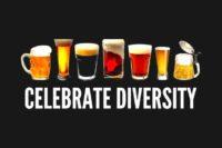 """""""Celebrate Diversity"""", bebildert mit sieben verschiedenen Biersorten: Export, Weizen, Stout, Pils, Helles, Dunkles und Altbier (mglw., das erkenne ich nicht sicher ;-) )"""