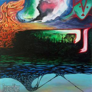 Gemälde, surreal. Oben rechts ein stilisiertes Tiergesicht, dem Namen des Gemäldes nach ein Fuchs. darunter kann man Pfoten erkennen, diese sind aber nur stilisiert. wo die Rute des Fuchses sein müsste, ist eine Art Flammenmeer, aber gut abgegrenzt und nicht bedrohlich. Der Körper scheint durchsichtig und man sieht stattdessen Berge/Landschaft. In der unteren Bildhälfte unter dem Bauch des Fuchses die Silhoutte eines Waldes, noch darunter nicht zu deutende Strukturen in Schwarz vor türkis-violettem Hintergrund.