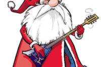 Comic eines Weihnachtsmanns. Unter dem bekannten roten Mantel trägt er Jeans und schwarze Stiefel, und statt Bischofsstab hat er eine E-Gitarre in der Hand und der Körperhaltung nach rockt er genüßlich