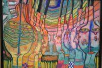 Bild von Friedensreich Hundertwasser. in den für ihn typischen bunten Farben scheinen am ehesten Köpfe dargestellt. auf der linken Bildhälfte in Gelb- und Grüntönen und vom Betrachter abgewandt, auf der rechten Seite in lila und blau und zum Betrachter hinsehend. (Original selbst fotografiert im Buchheim Museum, Bernried, 2017)