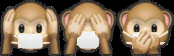 """Handy-Emojis der drei Affen """"hear no evil, see no evil, speak no evil""""/""""nichts böses hören, nichts böses sehen, nichts böses sagen"""", jedoch trägt jeder der Affen einen Mundschutz"""